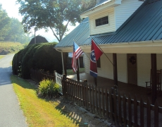 flags and farmhouse